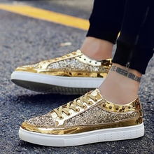 Luxury Brand Men Shoes Gold Silver rivet Hip Hop Shoes Men Trendy Male Casual Shoes Stylish Luxury Mens Sneakers Casual Fashion цена 2017