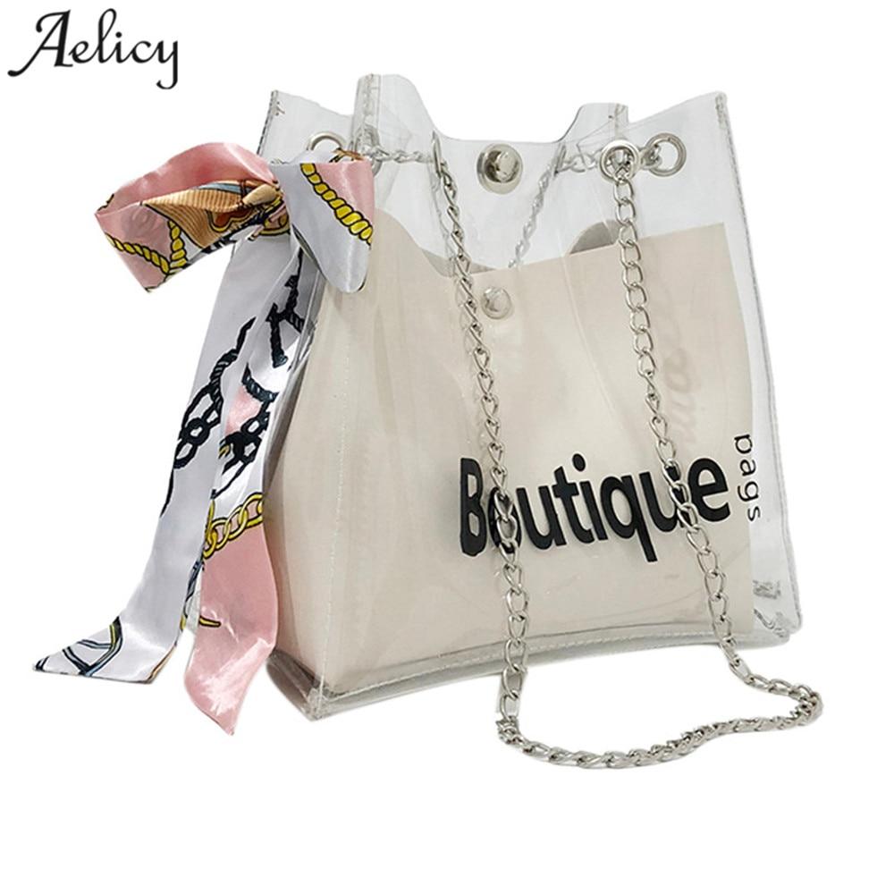 Womens PVC Transparent Clear Shoulder Bag Tote Jelly Candy Summer Beach Handbag