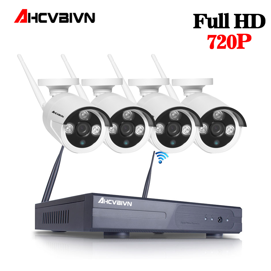4ch wireless cctv system  NVR Security Camera System P2P 4pcs WIFI IP Camera Outdoor 1.0MP Waterproof Security Video kits
