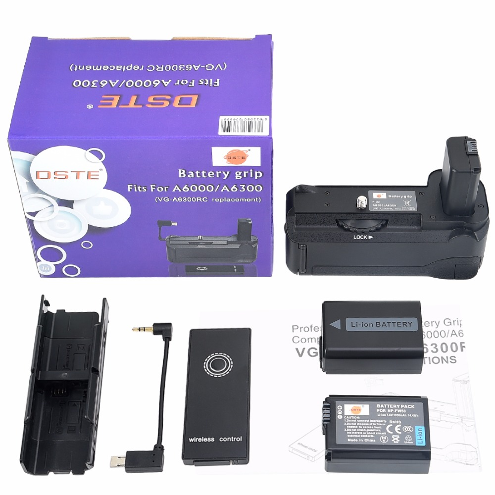 DSTE VG-6300RC Battery Grip + Romote Control + 2pcs NP-FW50 Battery for Sony A6000 A6300 DSLR Camera аккумулятор для фотокамеры neutral oem 2 4500mah np fv100 fv100 sony np fv30 np fv50 np fv70 sx63e sx83e sony np fv100