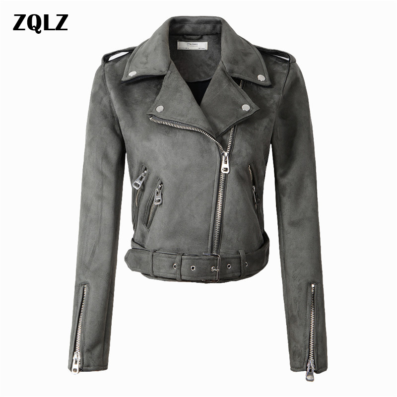 Zqlz 2018 Spring Autumn   Suede   Motorcycle   Leather   Jacket Women Short Coat Turn-down Collar Zipper Moto & Biker Bomber Jackets