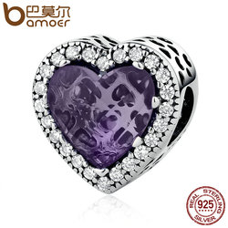 BAMOER Real 925 Sterling Silver Elegant Purple Love Heart Beads Charms Fit Bracelets & Bangles Women DIY Accessories PSC057