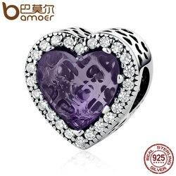 BAMOER Real 925 Sterling Silver Elegant Purple Love Heart Beads Charms Fit Bracelets & Bangles Women DIY Accessories PSC057