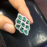 Природный Замбия Зеленый Изумрудный реальный драгоценный камень кольцо драгоценных камней fine jewelry 925 серебро элегантный кольцо для женщин