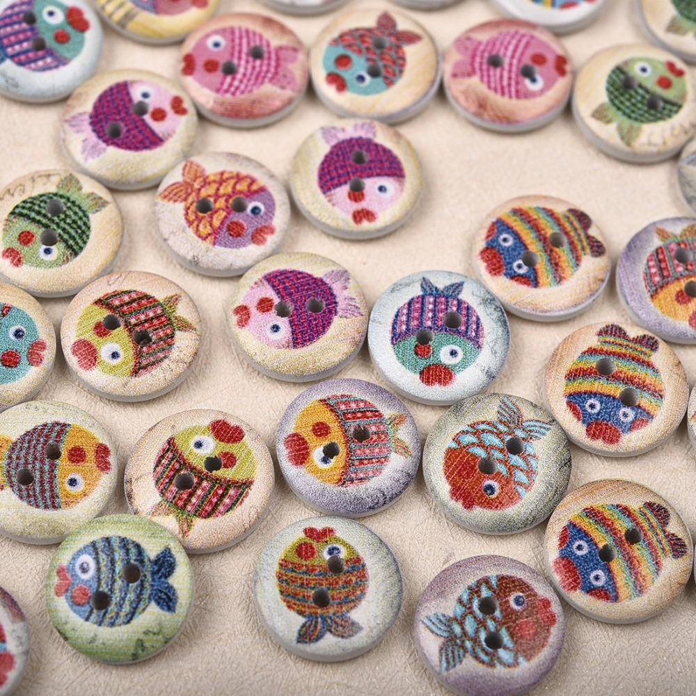 50 шт., новые круглые деревянные пуговицы с цветочным принтом, 2 отверстия, 15 мм, разные цвета, для шитья, деревянные пуговицы, аксессуары для украшения одежды, сделай сам