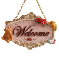 Beautiful Welcome And Bear Rose Flowers Cupid Angel Wall Hanging Door Decoration Bathroom Door Listing Door Plate Ornament R1467