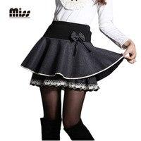 MISS 2016 Winter Grey Skirt Woolen High Waist Bow Black Pleated Mini Skirt Women Autumn Lolita
