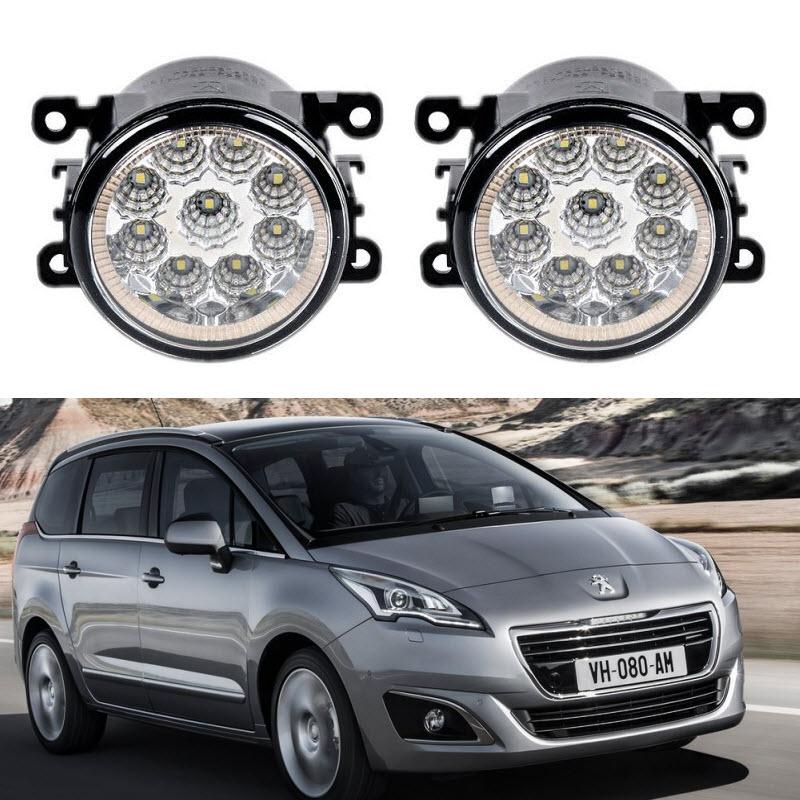 Car-Styling For Peugeot 5008 2009-2016 9-Pieces Led Fog Lights H11 H8 12V 55W Fog Head Lamp car styling for dacia renault sandero 2010 2016 9 pieces leds chips led fog light lamp h11 h8 12v 55w halogen fog lights