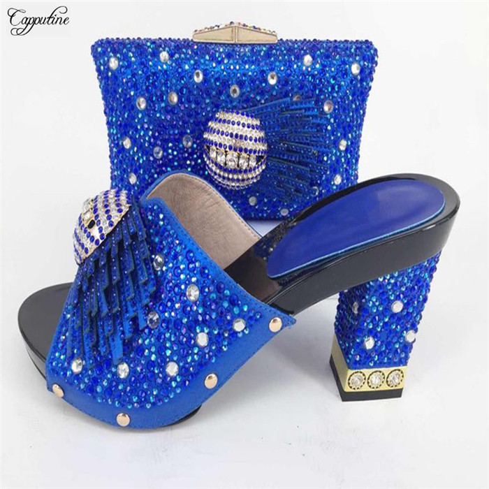 High class pump shoes and handbag set with shinning stones nice matching for party dress 227-6 in royal blue hot glitter italy matching shoe and bag set with shinning stones with free shipping for party in sl08 size 39 43 red