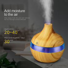 300ml Humidifier Aroma Essential Oil Diffuser Ultrasonic Wood Grain Air Humidifier USB Mini Mist Maker 7 LED Light Car Home