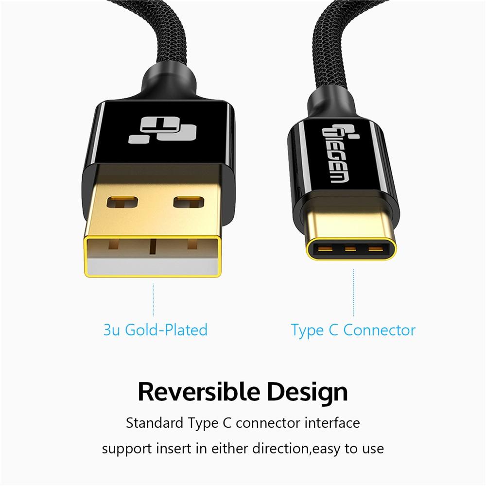 TIEGEM USB Tipe C Kabel USB 3.1 Tipe-C Pengisian Cepat USB-C Kabel - Aksesori dan suku cadang ponsel - Foto 2