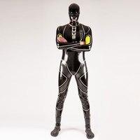 100% Latex Rubber Men Handsome Catsuit Racing Suits Bodysuit Suit Size XXS XXL