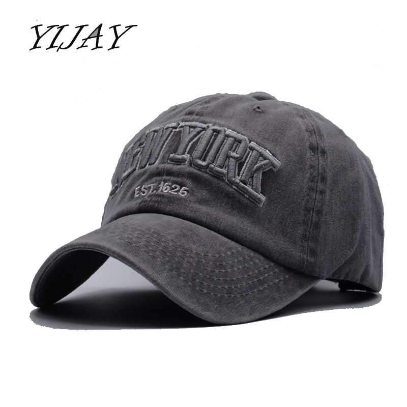 Yijay sand washed 100% cotton   baseball     cap   hat for women men vintage dad hats NEW YORK embroidery letter outdoor sports   caps