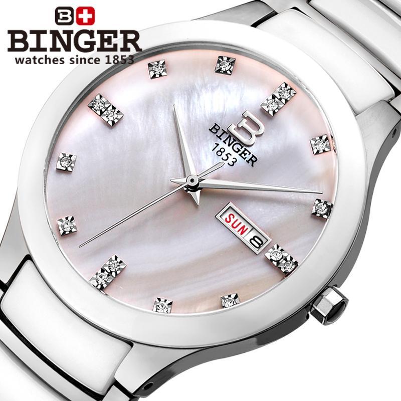 Svizzera Binger Spazio di ceramica di modo vigilanza degli uomini orologio al quarzo Amanti di strass orologi 100 m Resistenza All'acqua B-8007-5