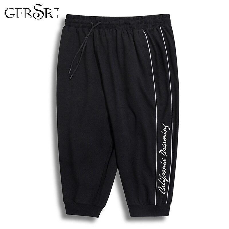 Gersri Men Trousers Calf-Length-Pants Hip-Hop-Pants Black Plus-Size Casual 6XL 7XL