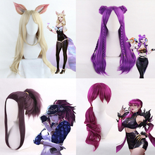 цена на Hot Game LOL KDA Cosplay Wig Akali Ahri Evelynn Kaisa Cosplay Wig Heat Resistant Synthetic Wig Halloween Carnival Party Cos Wigs