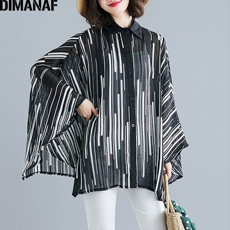 DIMANAF Plus Size Women   Blouse     Shirts   Lady Tops Tunic Thin Summer Print Striped Big Size Loose Batwing Sleeve Female Clothes 6XL