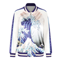 2016 New Blue Sea Wave 3D Printing Shining Fashion Winter Women Jacket S To XL Size White Casacos Mulher