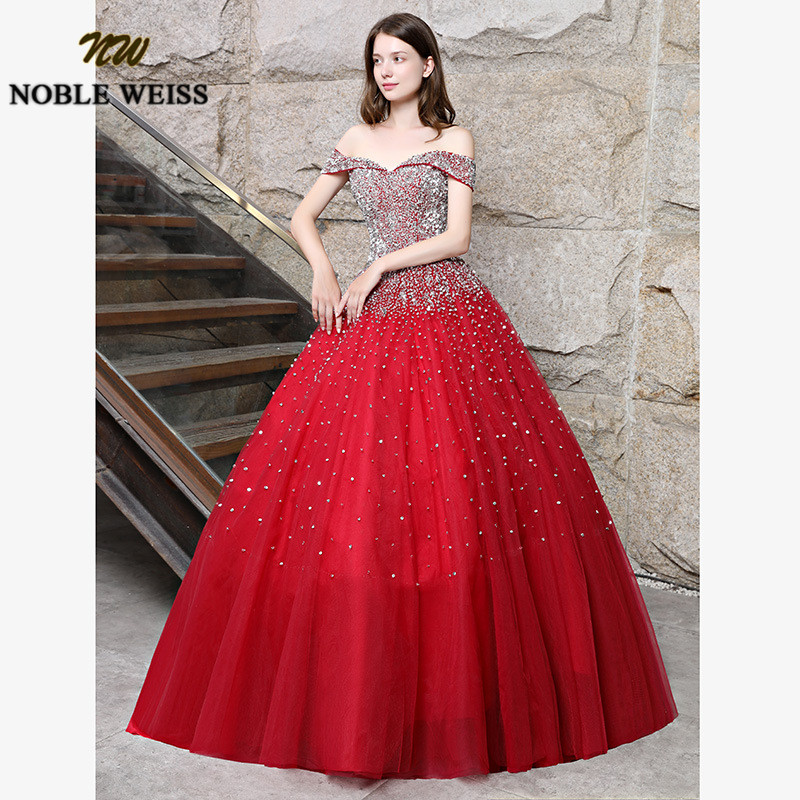 prom dresses red long ball gown prom dress heavy beaded lace-up women prom gown sleeveless tulle evening gowns puffy dress 2