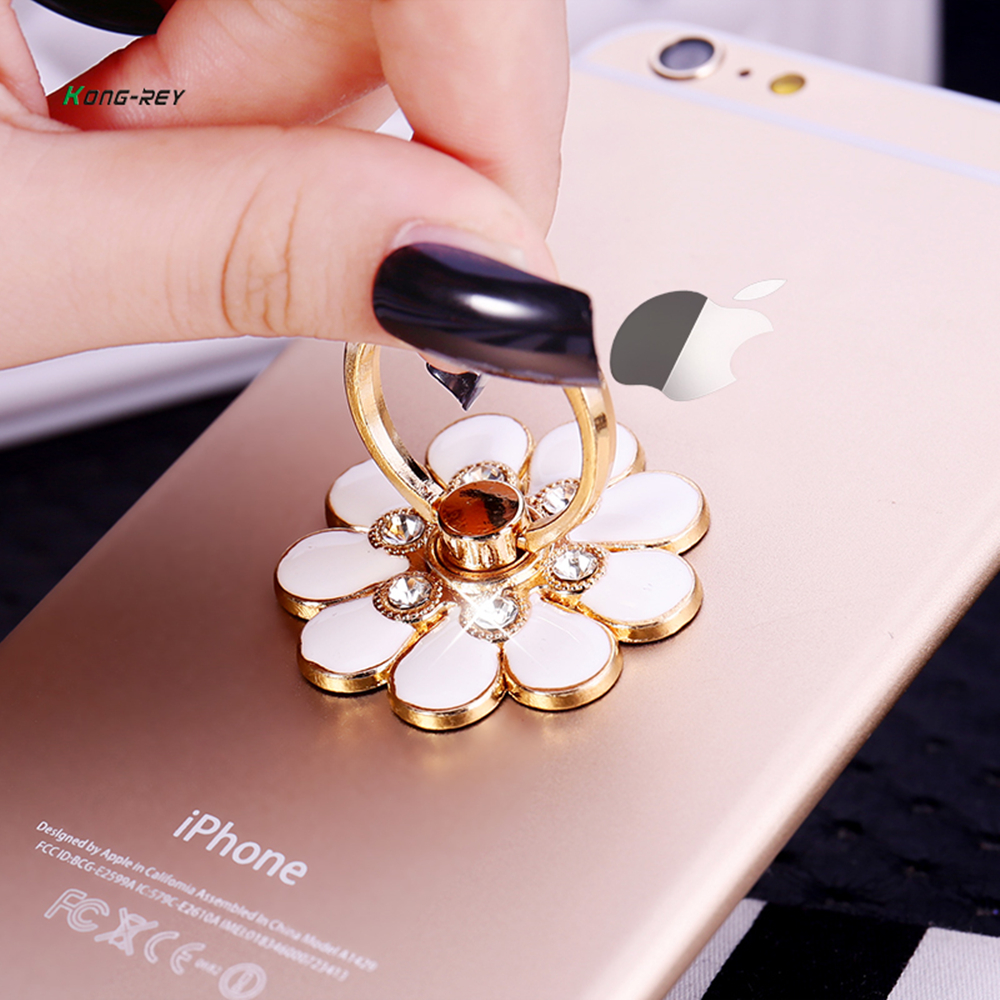 Universal 360 Rotating Cute Cartoon Rhinestone Cellphone Accessories Finger Ring Stent Mobile Phone Holder Stand For Iphone Phon