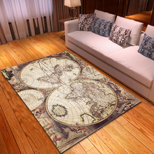 World Map 3D Print Rug Carpet for Home Livingroom Kid Bedroom Modern Area Rug Kitchen Bathroom Anti-Slip Large Floor Mat Decor retro window stone wall print floor rug
