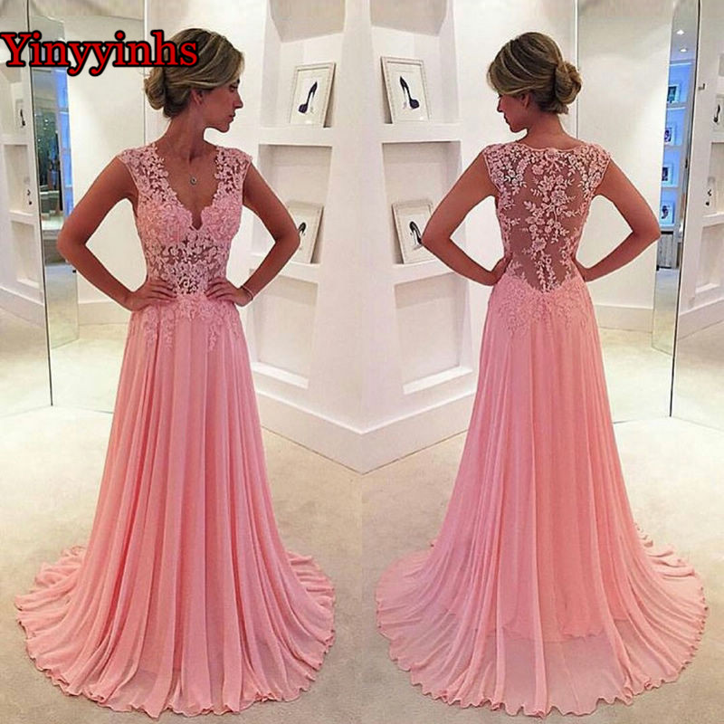 Lace Appliques Evening Dress Elegant For Women Sleeveless Long Chiffon Cap Sleeve Plus Size Prom Dresses 2019 Party Gown YY125