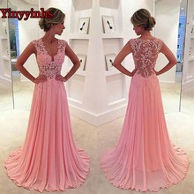 Spitze Appliques Abendkleid Elegante für Frauen Ärmellose Lange Chiffon Cap Sleeve Plus Größe Prom Kleider 2020 Party Kleid YY125