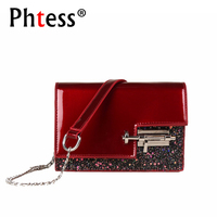 2018 Mini Crossbody Bags For Women Luxury Patent Leather Chains Shoulder Bags Female Sequins Messenger Bag