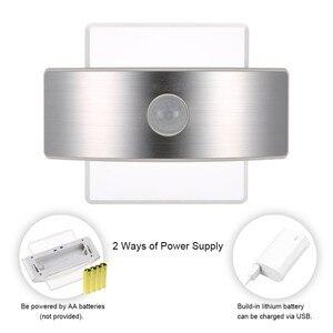 Image 2 - LED Motion Wall light bateria AA akumulatorowa lampa LED czujnik lampka nocna wewnętrzne światło bezpieczeństwa do schodów kuchnia korytarz szafa