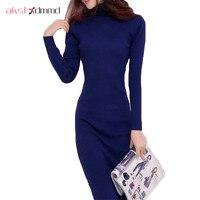 2015 New Arrive Women Winter Sweater Dresses Slim Turtleneck Long Knitted Dress Sexy Bodycon Robe Dress