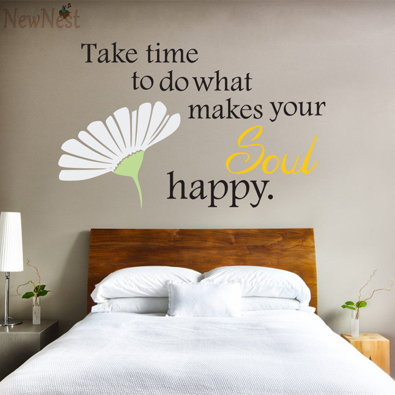 US $12 98 |Daisy Quote Wall Decal Fresh Flowers Wall Stickers Home Decor  Simple Decorative Wall Art Mural Living Room Wall Decoration-in Wall  Stickers