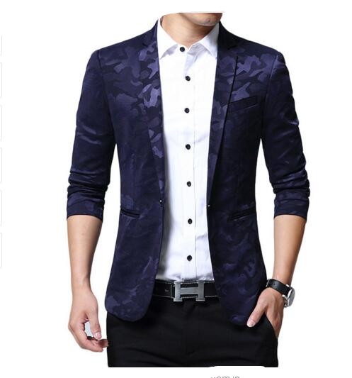 Loldeal Blue Lattice Men Fashion Casual Slim Blazers 2018 Spring New Arrival Fashion Party Single Breasted Men Suit Jacket