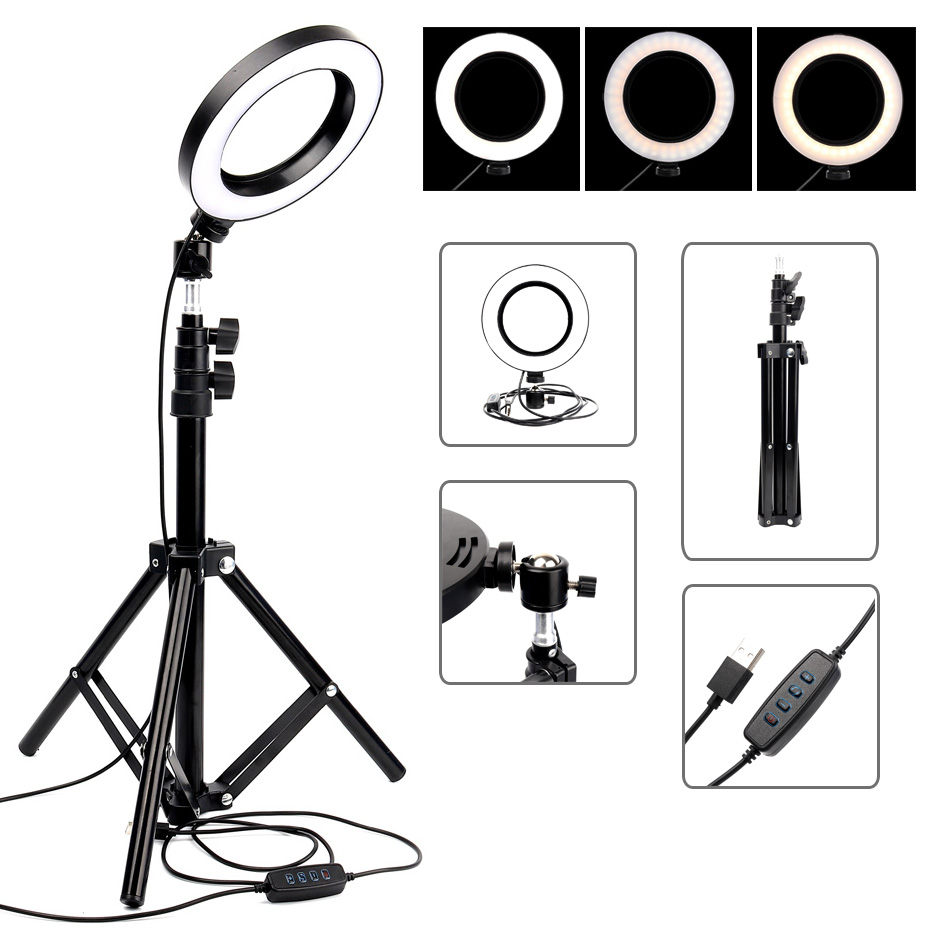 LED Ring Light Photographic Lighting Dimmable Camera Lamp