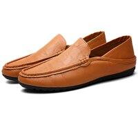 الرجال أحذية عالية الجودة بو الجلود الناعمة الاخفاف المتسكعون أزياء ماركة الرجال مريح ذكر يقود قارب الأحذية المسطحة