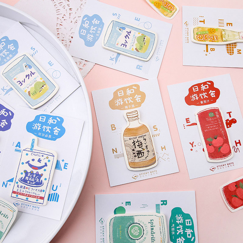 Drink party Self Adhesive Memo Pad Kawaii School Supplies Planner Stickers Paper Bookmarks Korean Message note Stationery in Memo Pads from Office School Supplies