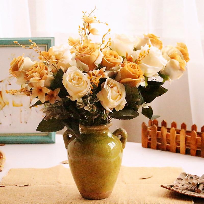 Klonca Luxury Silk Flower 46cm 6pcs/bouquet Rose Wedding Fake Flowers Party Decoration Artificial