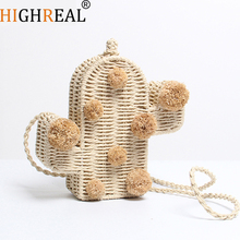 HIGHREAL Beach Bag Cactus Rattan Bag Straw Bag Summer Bags with Pom Pom Women Messenger Handbag Braided 2019 New High Quality