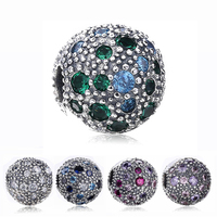 925 Sterling Silver Lock Clip Charm Beads 5 Color Crystal Stopper Beads For Women Original Pandora Charms Bracelet Bangle XCY392
