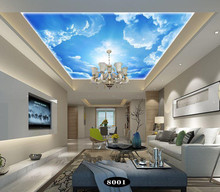 Custom 5D silk large murals beautiful blue sky white clouds starry green leaves ceiling mural bedroom living room wallpapers 3d