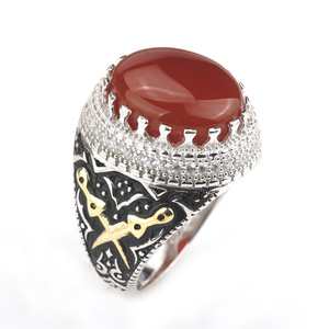 Image 3 - Men Ring Real 925 Sterling Silver Red Stone with Double Sword Clear CZ Finger Ring for Men Fashion Jewelry