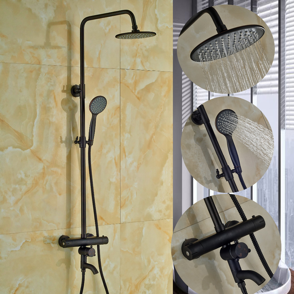 Modern Oil Rubbed Bronze Rain Shower Head Thermostatic Valve Hand Shower Tap NEW modern wall mounted round 8 rain shower head valve mixer tap oil rubbed bronze