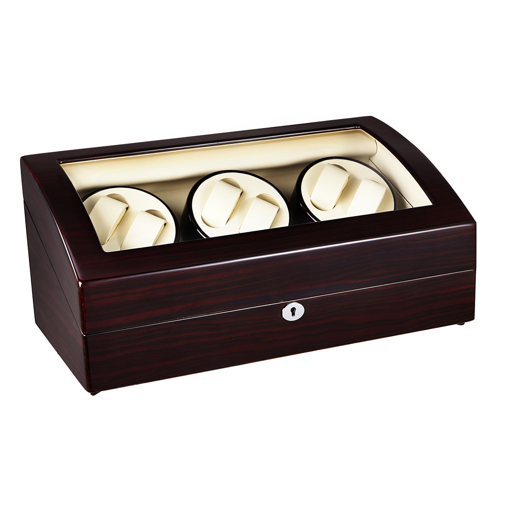 Watch Winder ,LT Wooden Automatic Rotation 6+7 Watch Winder Storage Case Display Box (rose red and inside is white) 2016 latest luxury 5 modes german motor watch winder yellow spray paint wooden white pu leater inside automatic watch winder