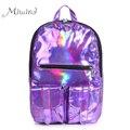 2016 Women Backpack For Teenagers Girls Capacity Hologram Men Leather Harajuku Laptop School Travel Bag Male Waterproof Mochila