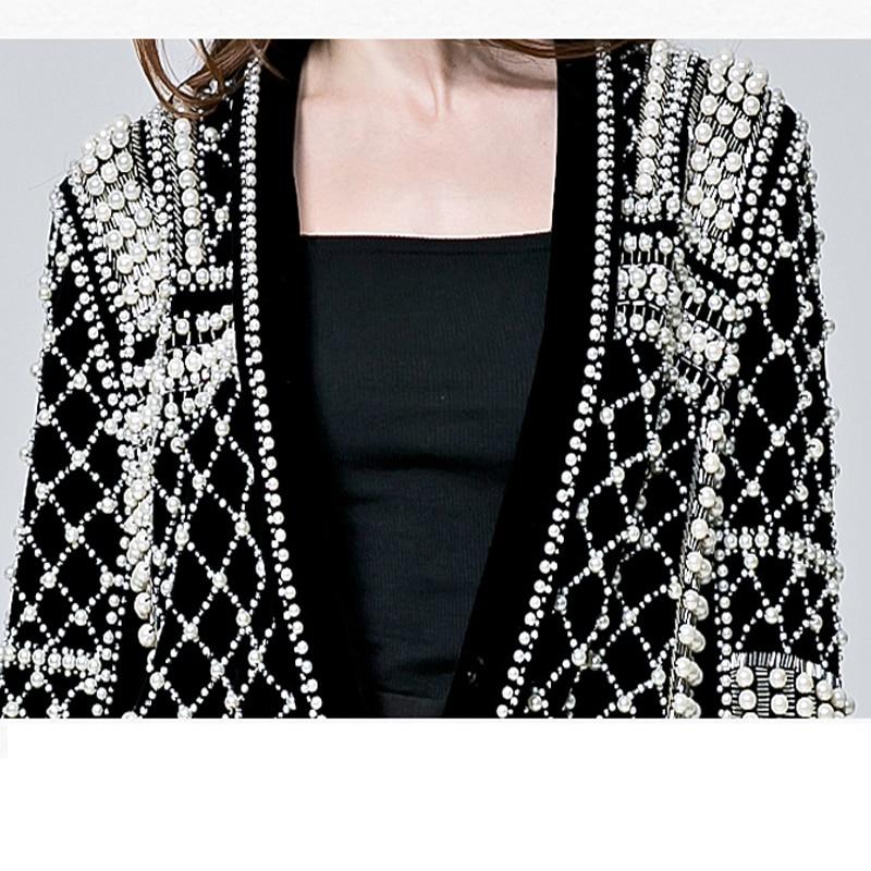 Manuel Lâche Cou Femmes Pur Manches Black Perles Manteaux Longues Vestes Haute Profonde V Qualité Blazer À Dames Travail Velours Droite U55vxRSq