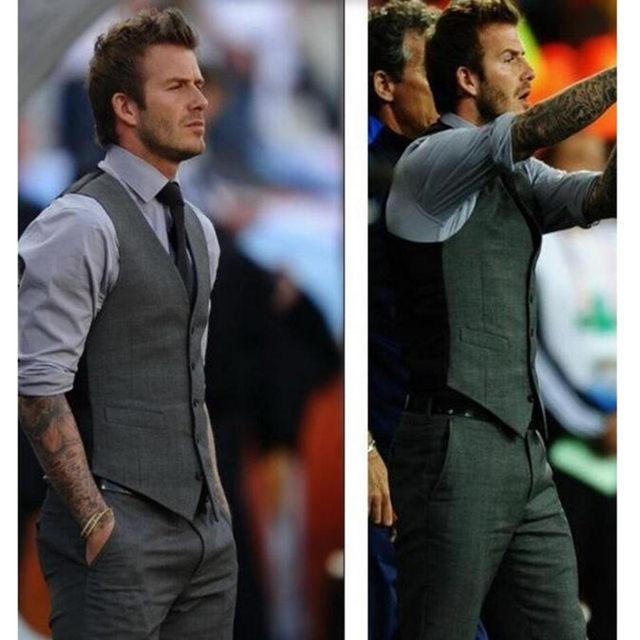 Nagelneu Online-Shop Grau Slim Fit Kleid Westen Für Männer David Beckham  XS12