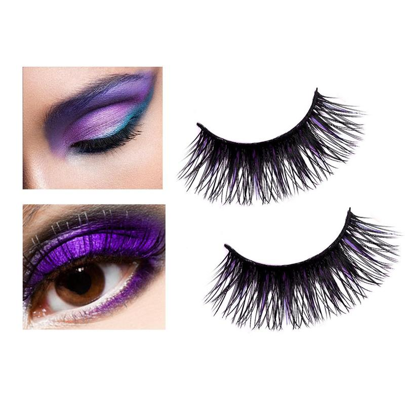 Black+Purple 3D Eyelashes Strips Thick Cross 5 Pairs of Natural False Eyelash 3D Eyelash Extensions Cosmetics MZM8080 ...