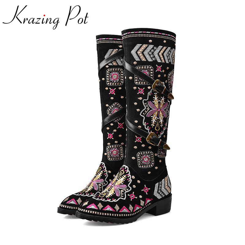2017 black flowers chinese style embroidery zip thigh high boots round toe med-heels women brand shoes over the knee boots L61 a three dimensional embroidery of flowers trees and fruits chinese embroidery handmade art design book