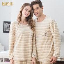 Unisex Men & Women Striped Full Sleeve Flannel Sleep Lounge Sets Coral Fleece Couple Pajamas Winter Warm Lovers Pijama Sleepwear