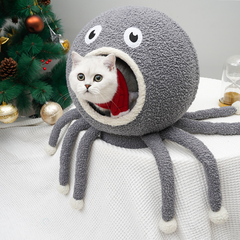Octopus Cat House Interactive Squeak Tentacle Toy Dog Cat Beds Kitten House Pet Kennel Small Animal Totoro Chinchilla Tent Bed