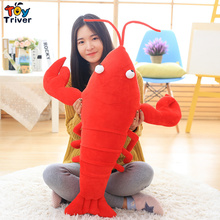 Creative Plush 3D Simulation Lobster Pillow Cushion Toys Stuffed Doll Birthday Gift Present Home Shop Restaurant Decor Triver